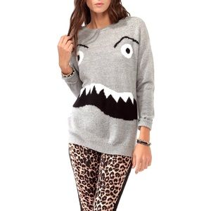 F21 Grey Knit Monster Face Pullover Sweater Small